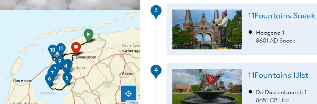 Fonteinen route in Friesland met auto