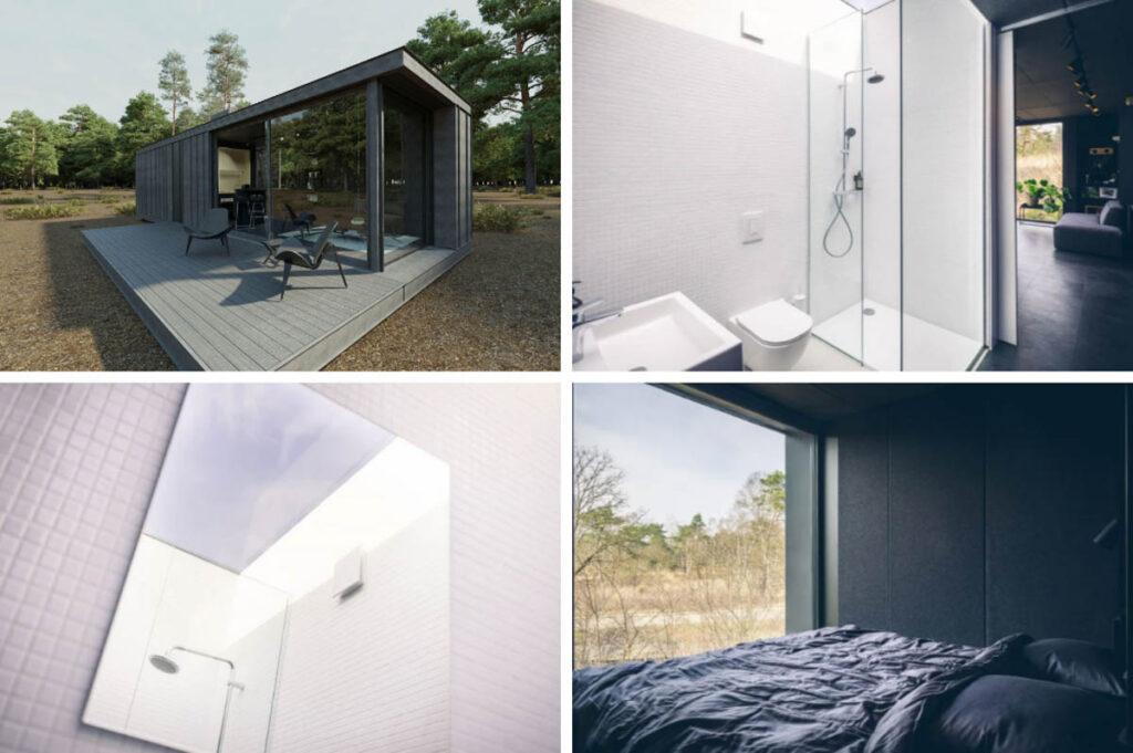 Huisje met slaapkamer met uitzicht op de Veluwe