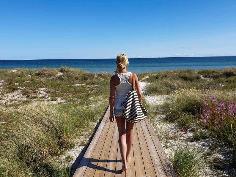 Grote strandtas met rits en vakjes