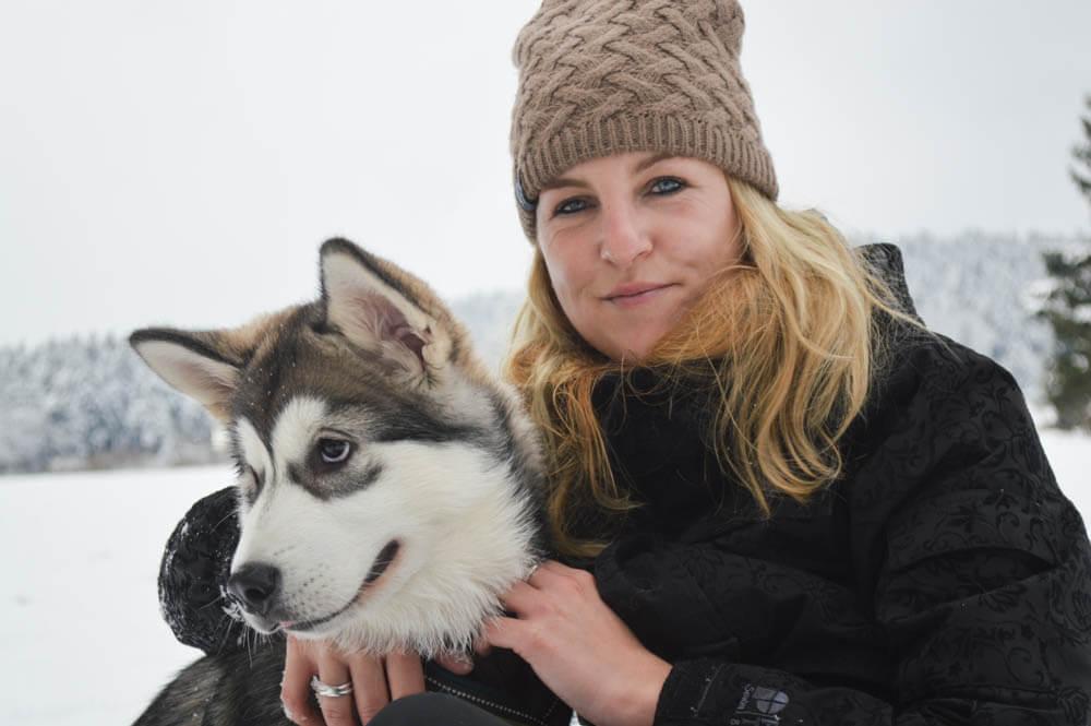 Wandelen met husky's Duitsland