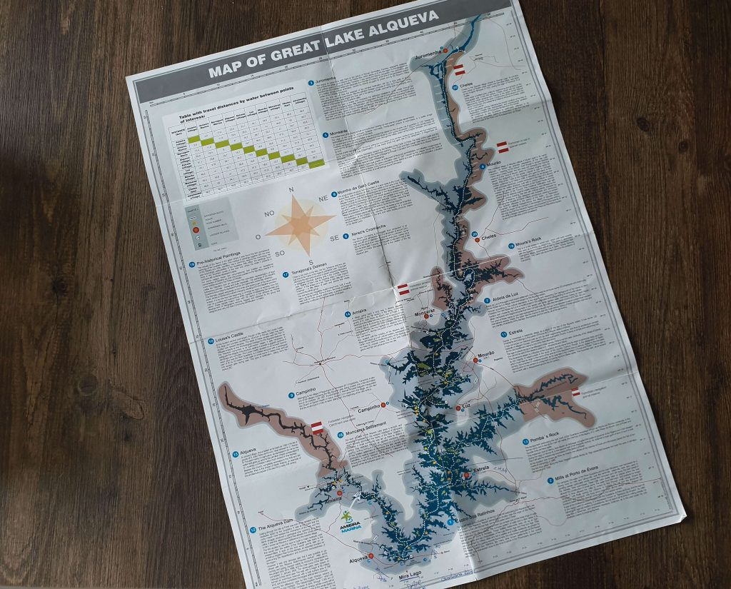 Kaart Alqueva meer in Portugal