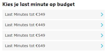 Last minute reizen op basis van budget