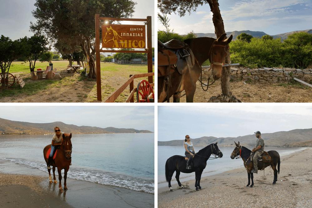 Paardrijden op het strand in Karysytos