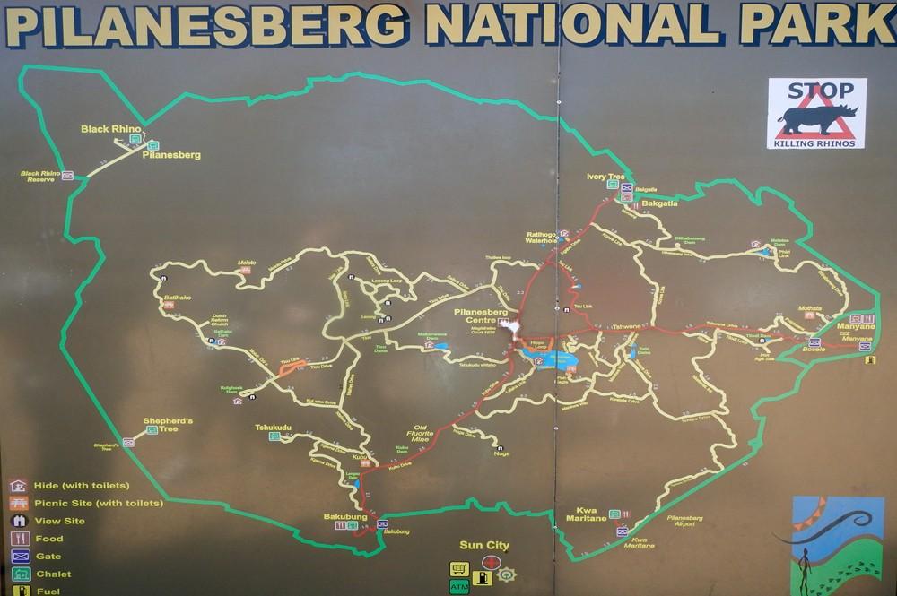 Pilanesberg park plattegrond
