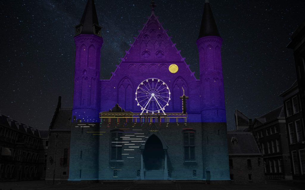 Lichtprojecties op Ridderzaal