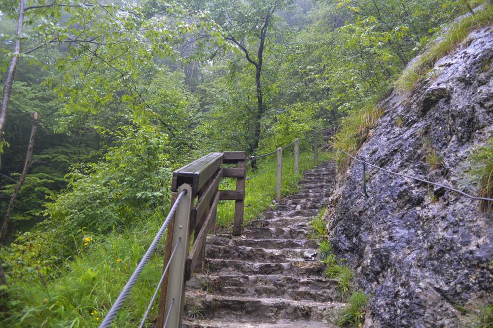 Steile stukken nabij de Tolmin kloof