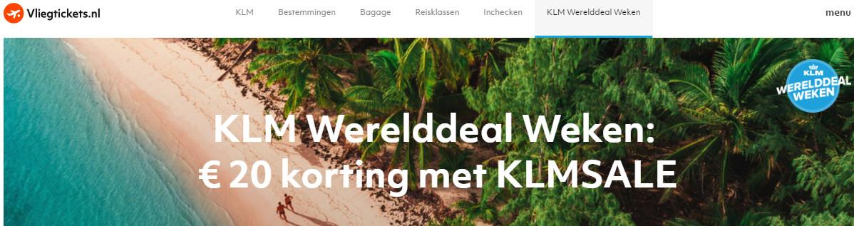 Extra korting KLM Wereld Deal Weken 2019