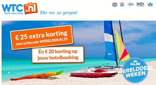 WTC.nl & KLM Werelddeal extra korting