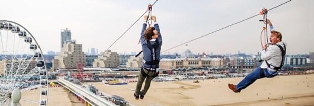 zipline over de Scheveningse Pier