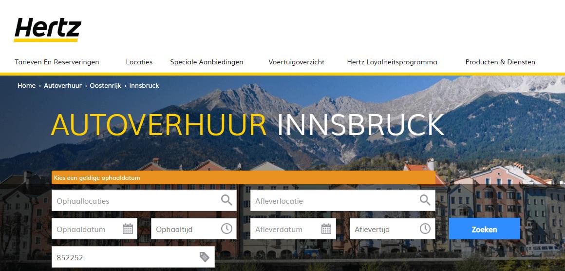 Auto huren Innsbruck via Hertz