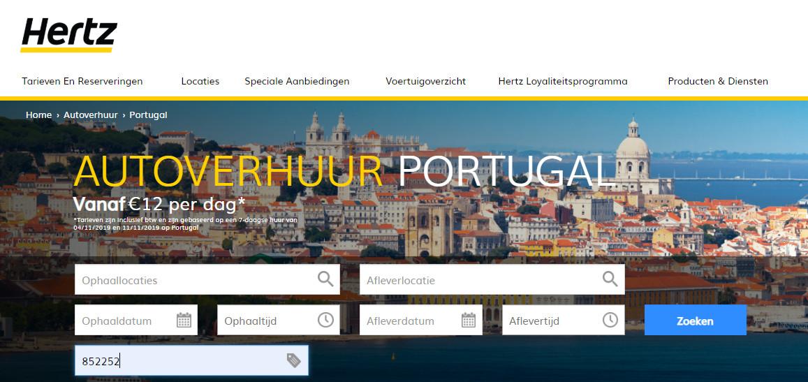 Korting autohuur Portugal Hertz