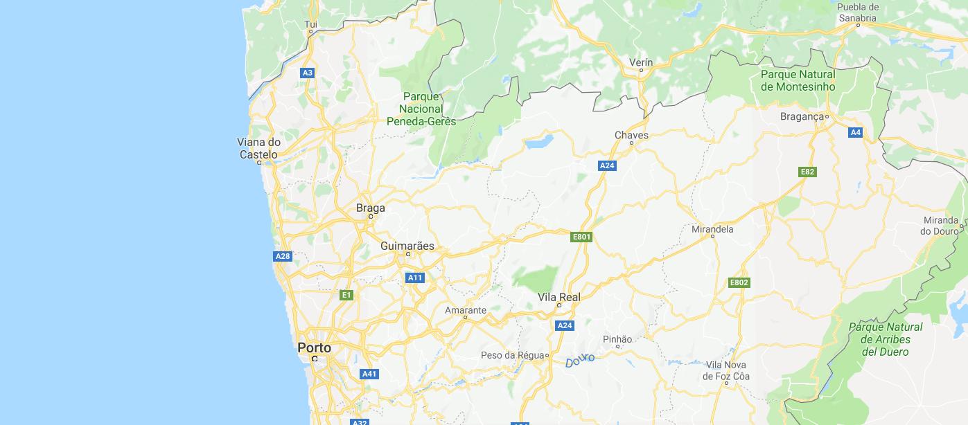 Kaart noorden Portugal