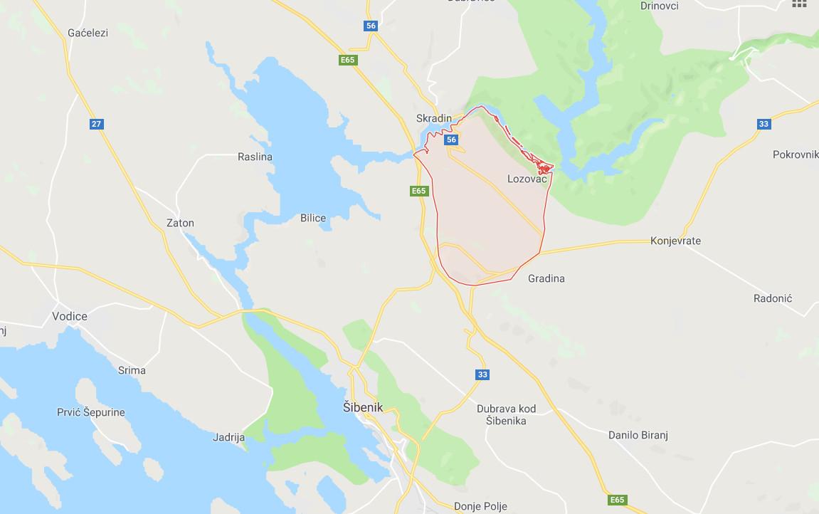 Krkawatervallen via Google Maps