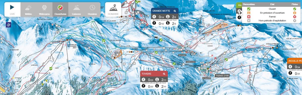Skigebied Tignes, Ski Map + Skigebied kaart