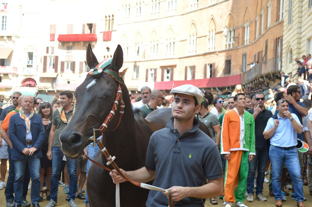 Contrada Selva verlaat het Piazza di Campo na de ochtend prove
