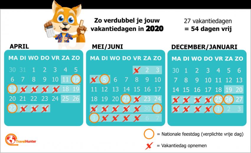 Meer vakantiedagen in 2020